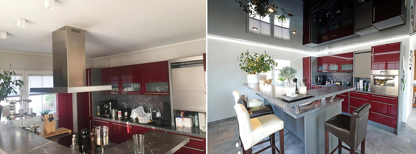 Vorher-Nachher-Vergleich: Küchendecke mit schwarzer Lackspanndecke und umlaufenden LED-Stripes gestaltet