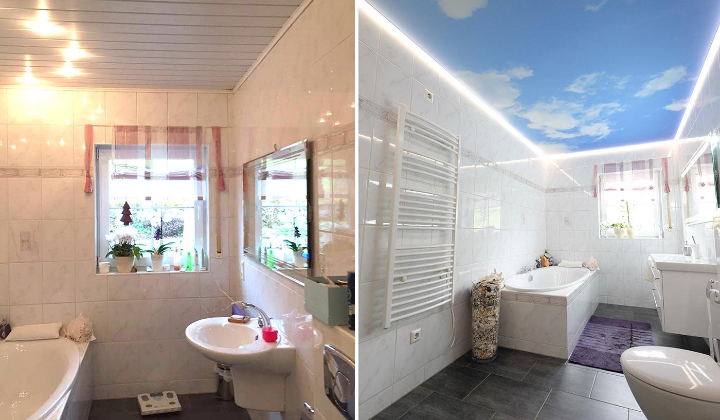 Vorher-Nachher-Vergleich: die alte Holzdecke wurde durch eine neue Fotodecke mit LED-Beleuchtung ersetzt.