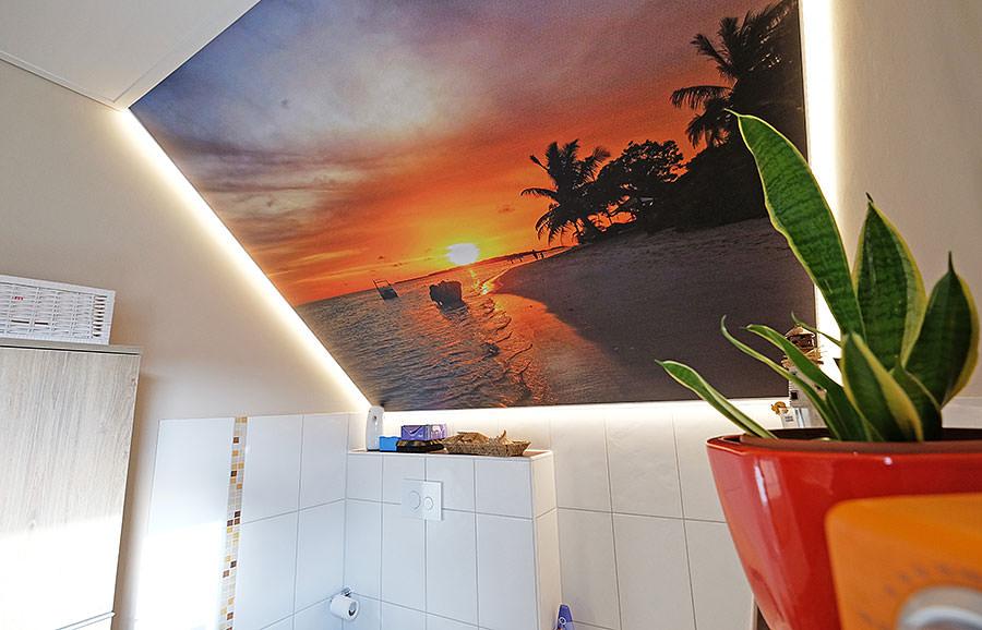 Das Motiv der Fotodecke stammt von unseren Kunden selbst. Die schöne Urlaubserinnerung kann jetzt jeden Tag genossen werden.