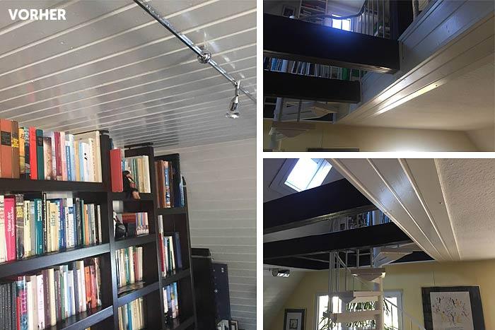 Vor der Renovierung mit PLAMECO-Decke: das Dachstudio mit der Holzpaneele.
