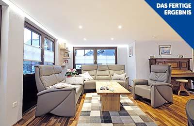 Fertig renoviertes Wohnzimmer mit PLAMECO-Decke in Siegen