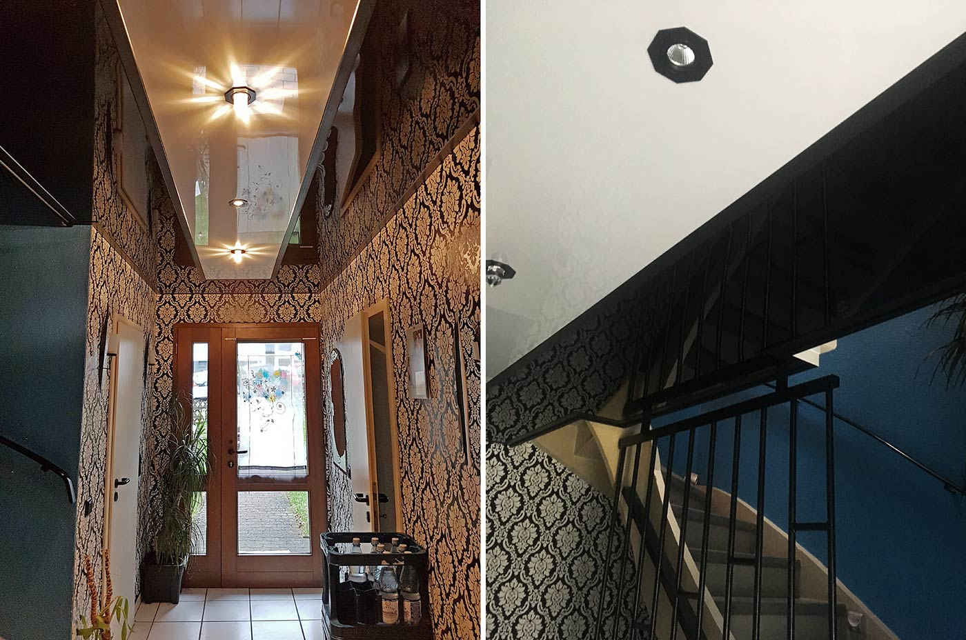Flurdecke und Treppenhaus mit PLAMECO-Decke renoviert - das fertige Ergebnis in Netphen-Dreis-Tiefenbach ist ein Hingucker geworden.