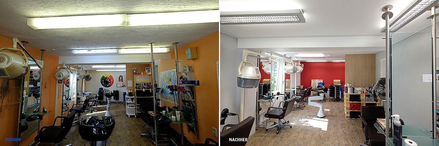 Friseursalon renoviert mit PLAMECO-Decken in Erndtebrück