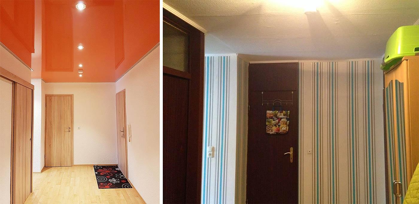 PLAMECO Flurdecke in Siegen-Geisweid: der Flur wurde komplett renoviert. Das alte Problem der tapezierten Decke mit Unebenheiten und welliger Tapete ist nun ein für alle Mal gelöst. Die intensive PLAMECO Lackspanndecke in Orange überzeugt durch Helligkeit und Spiegelung.