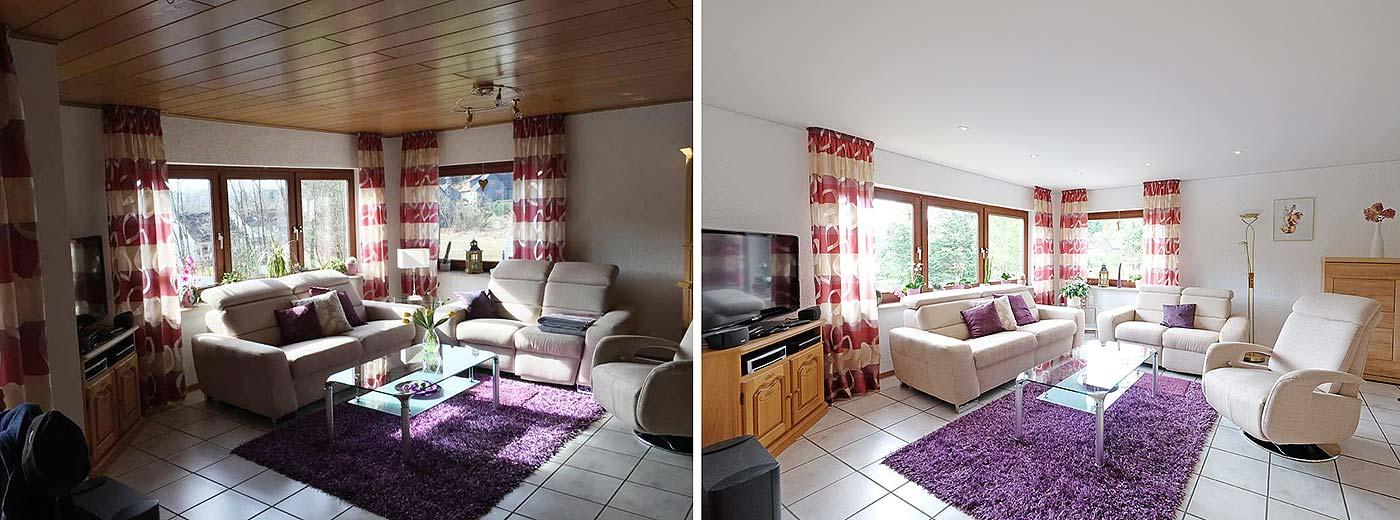 Räume heller gestalten - die alte Holzdecke kann bleiben, die neue Decke von PLAMECO wird direkt darunter installiert