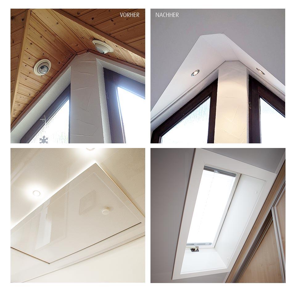 Alle Herausforderungen beim Renovieren des Treppenhauses gemeistert: von Dachtreppe bis Dachfenster oder Schrägen. Mit PLAMECO-Decken kein Problem.