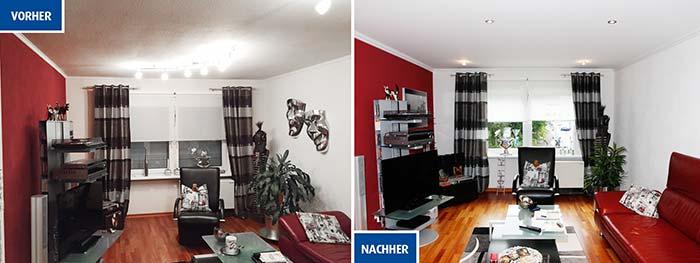 Renovierte Decke in Betzdorf: Vorher Betondecke mit Unebenheiten, jetzt perfekt ebene PLAMECO-Decke