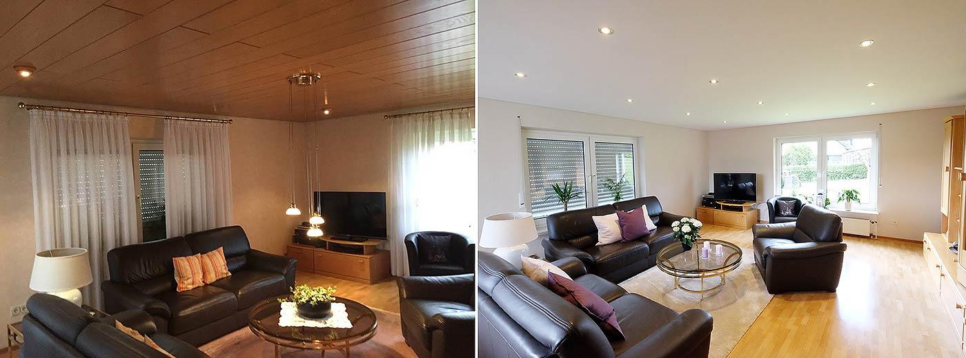 Der direkte Vorher-Nachher-Vergleich: wo zuvor noch die dunkle Holzdecke hing, erstrahlt nach der Renovierung die helle PLAMECO-Decke mit LED-Spots. Ein riesiger Unterschied für das Raumgefühl.