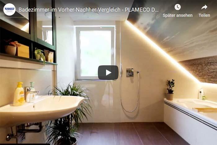 Fotodecke im Badezimmer mit indirekter Beleuchtung - PLAMECO