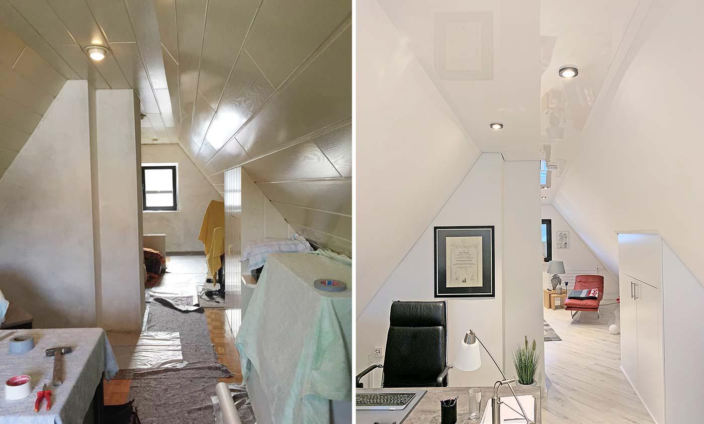 Vorher-Nachher-Vergleich des Dachstudios. Vorher Holzdecke, nach der Renovierung mit PLAMECO-Decken in Matt-Weiß und Hochglanz-Weiß.