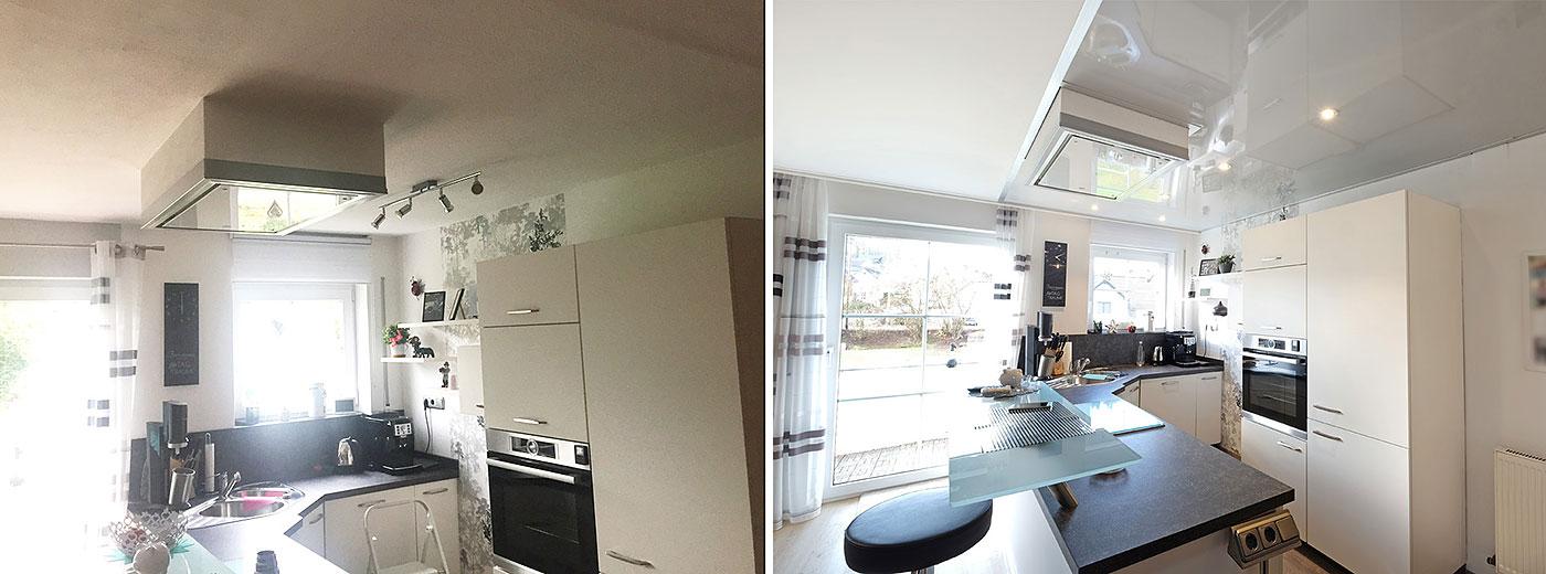 Die Küchendecke in stylischem Hellgrau mit integrierten LED-Strahlern wurden direkt unter die Trockenbaudecke montiert. Der Dunstabzug wurde integriert und fügt sich nun tadellos in das Gesamtbild ein.