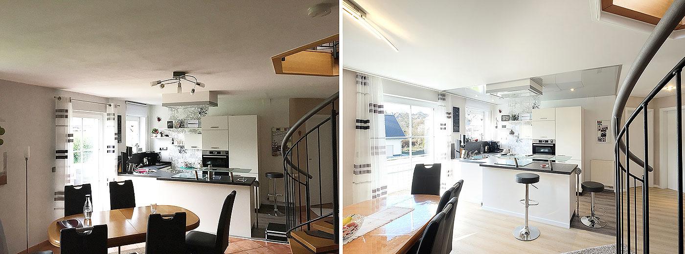 Der direkte vergleich zwischen Trockenbaudecke und neuer PLAMECO-Decke zeigt den Unterschied. Das feine Weiß der PLAMECO-Decke mit perfekt ebener Oberfläche wirkt heller und wertet den Raum auf. Die in Hochglanz-Grau abgesetzte Küche ist ein toller Hingucker.