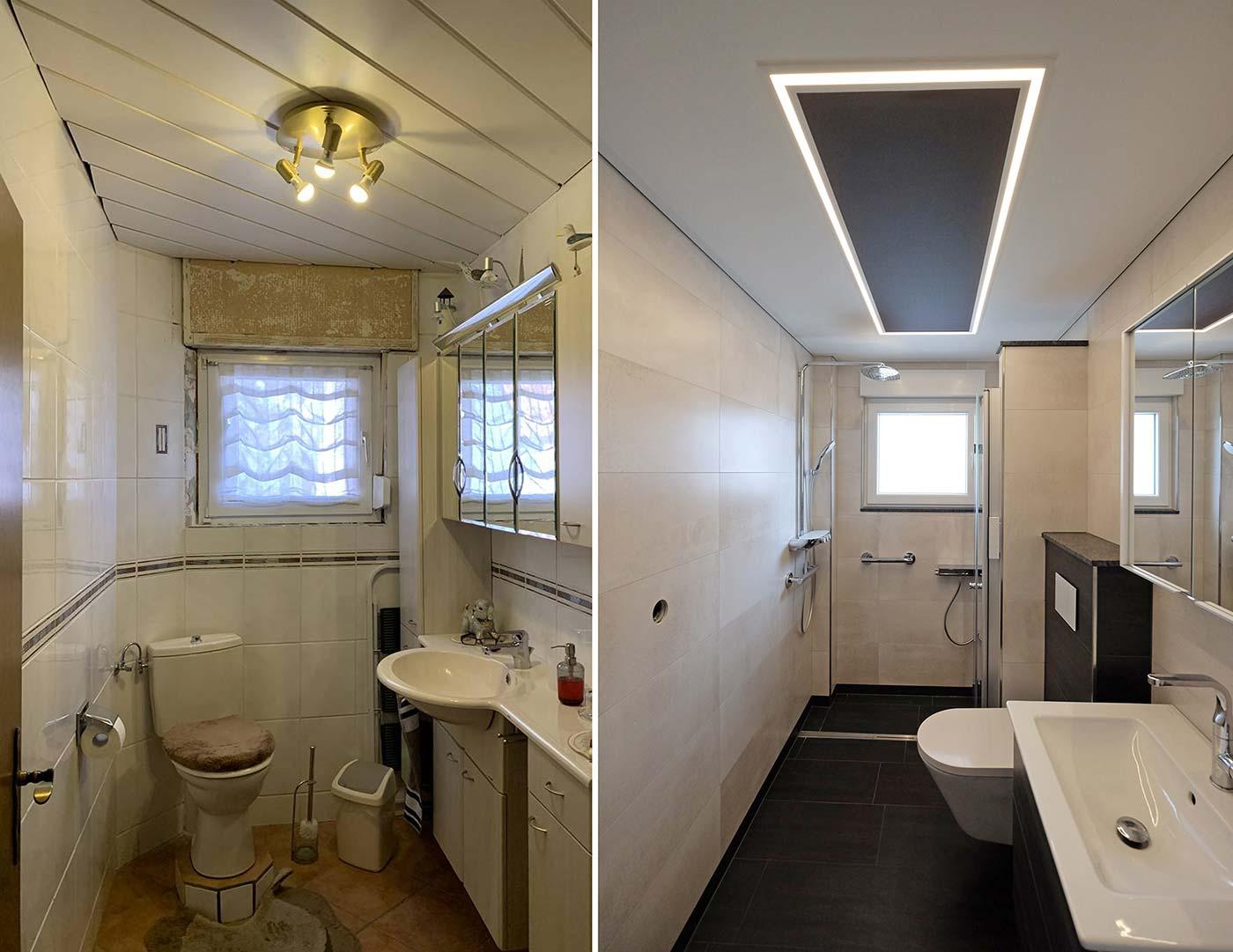 Imposant: der Vorher-Nachher-Vergleich der Badrenovierung zeigt die enorme Veränderung, die das Badezimmer genommen hat. Die PLAMECO-Decke samt LED-Lichtkanal ist das i-Tüpfelchen und sorgt für tolles und weiches Licht im Bad.