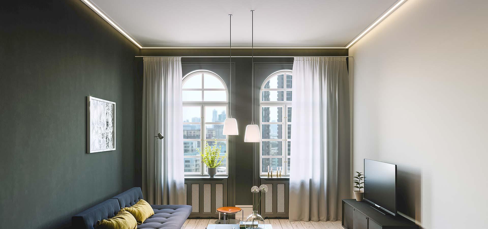 Spanndecke im Wohnzimmer - schnell und sauber montiert mit ...
