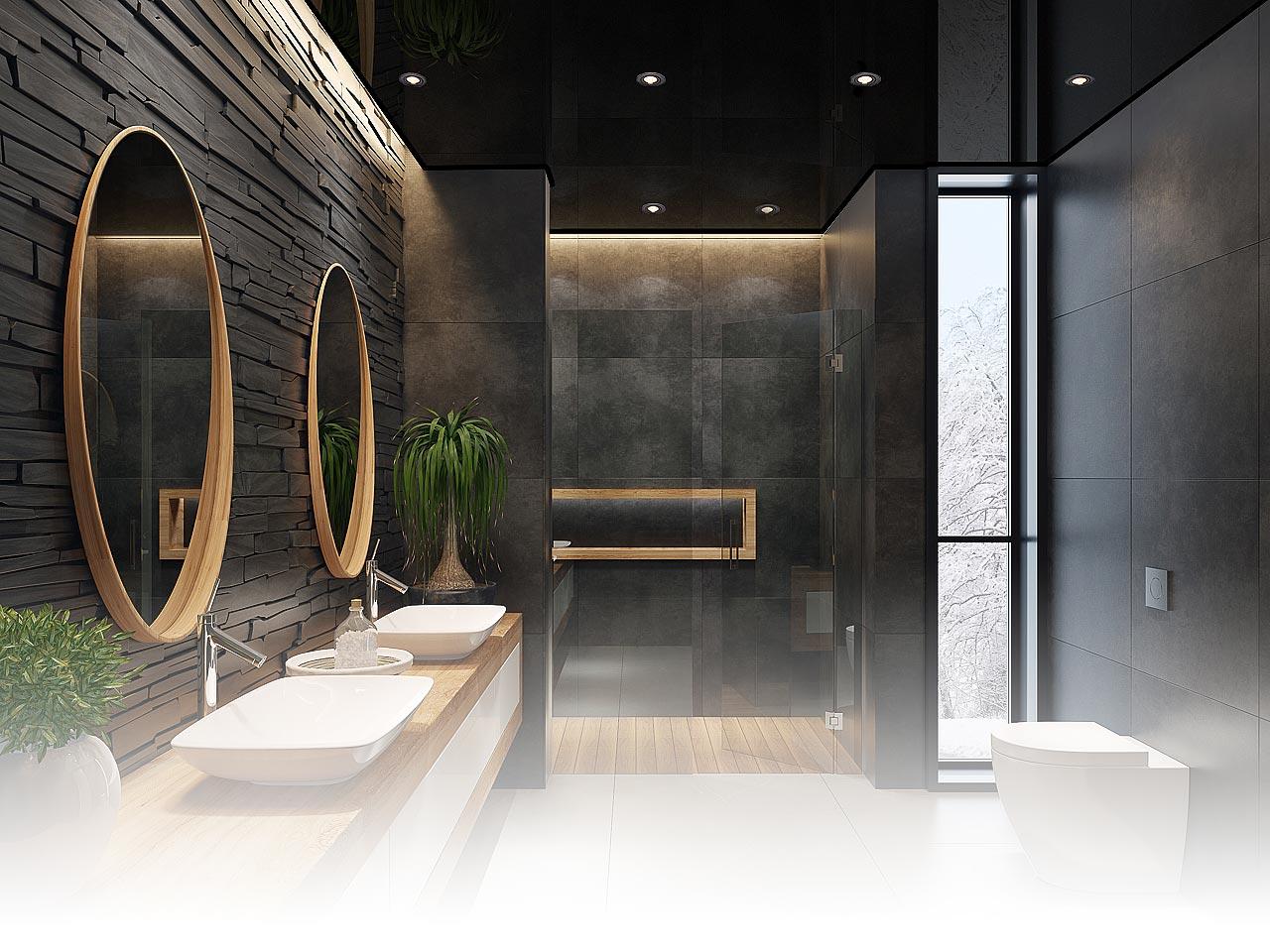 Badezimmerdecke Spanndecke in Schwarz